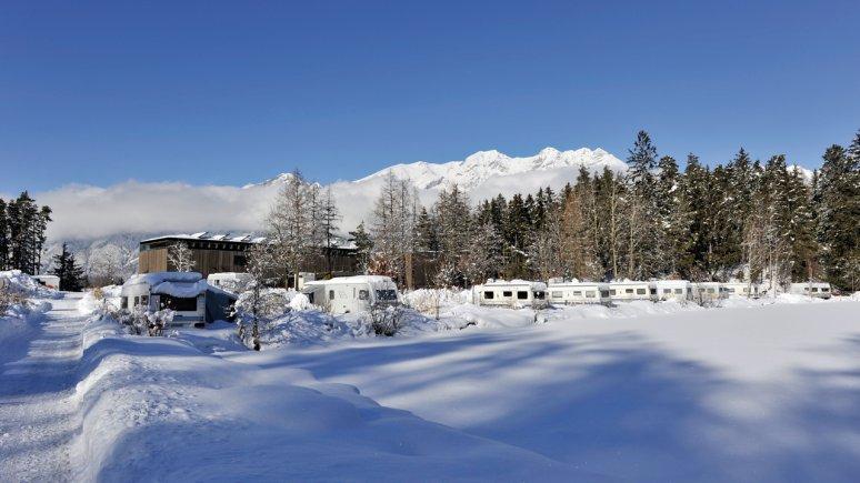 Camping in inverno al Ferienparadies Natterer See, © Ferienparadies Natterer See