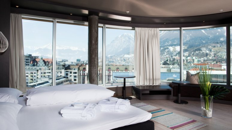 Suite panoramica dell'aDLERS a Innsbruck, © Hotel aDLERS