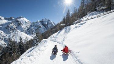 Slittino nella valle Pinnistal, © TVB Stubai Tirol / Andre Schönherr