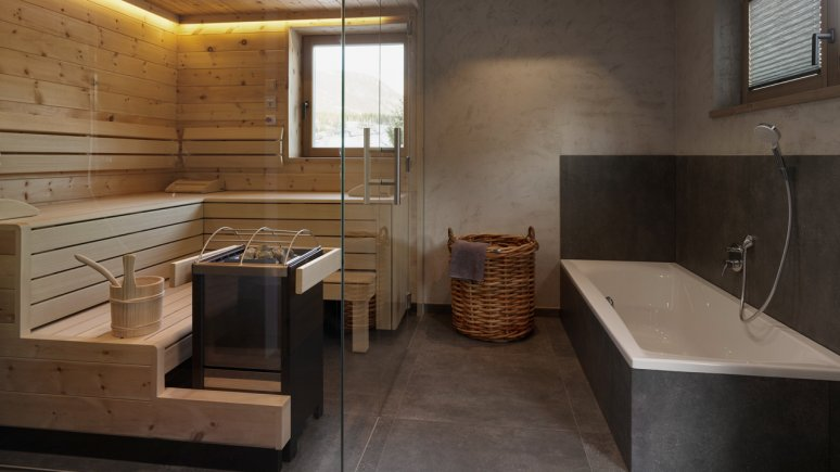 Bagno con sauna nel Chalet Grosslehen a Fieberbrunn, © Toni Niederwieser