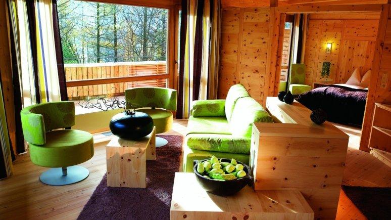 Una camera del Waldklause Naturhotel a Längenfeld, © Waldklause Naturhotel
