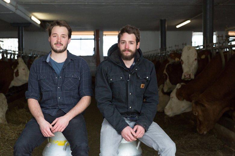 """I ragazzi del latte e le loro """"ragazze"""" al lavoro. Foto: Bert Heinzelmeier"""